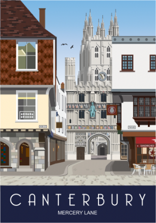 Canterbury as seen from Mercery Lane Greetings card (Kent)